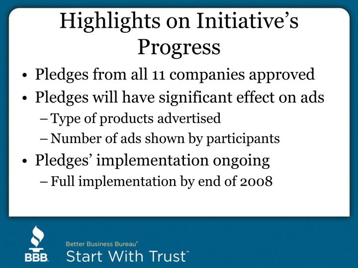 Highlights on Initiative's Progress
