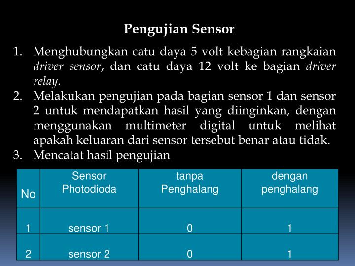 Pengujian Sensor
