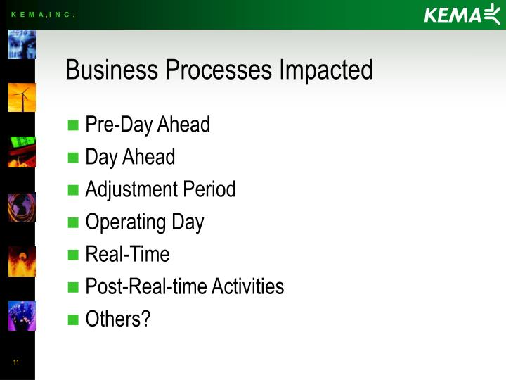 Business Processes Impacted