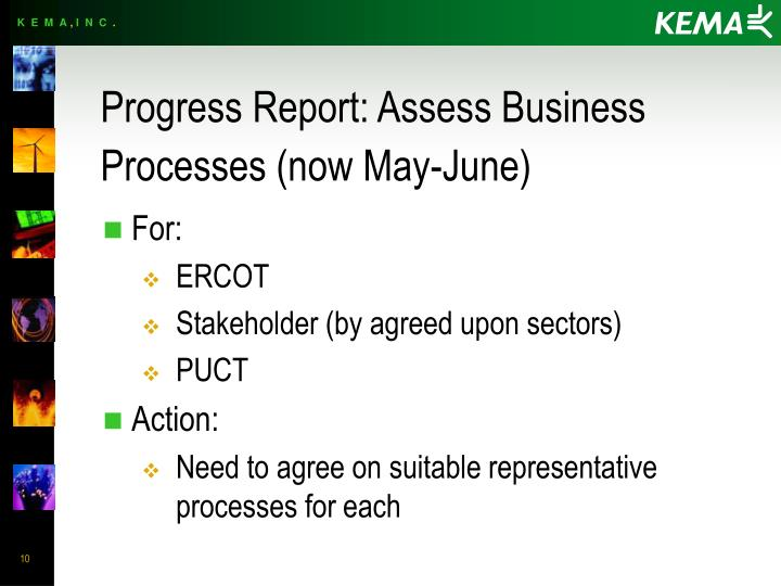 Progress Report: Assess Business Processes (now May-June)
