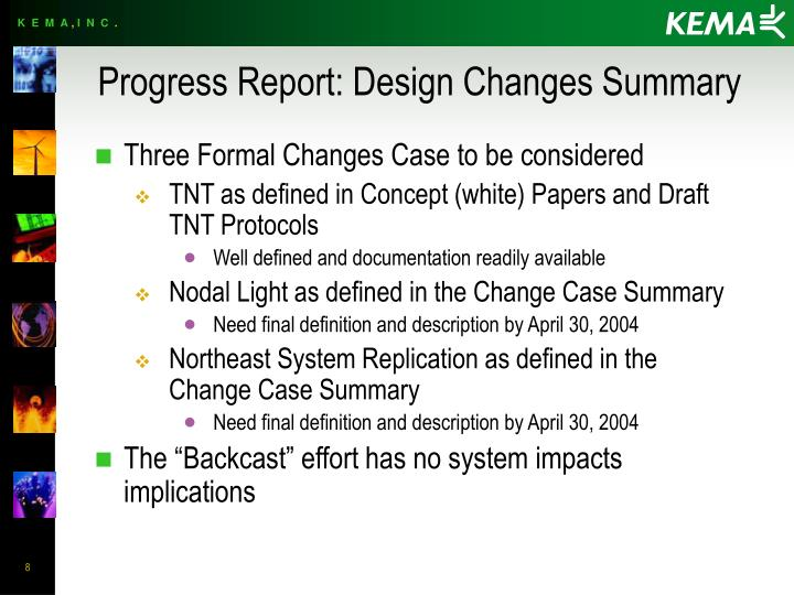 Progress Report: Design Changes Summary