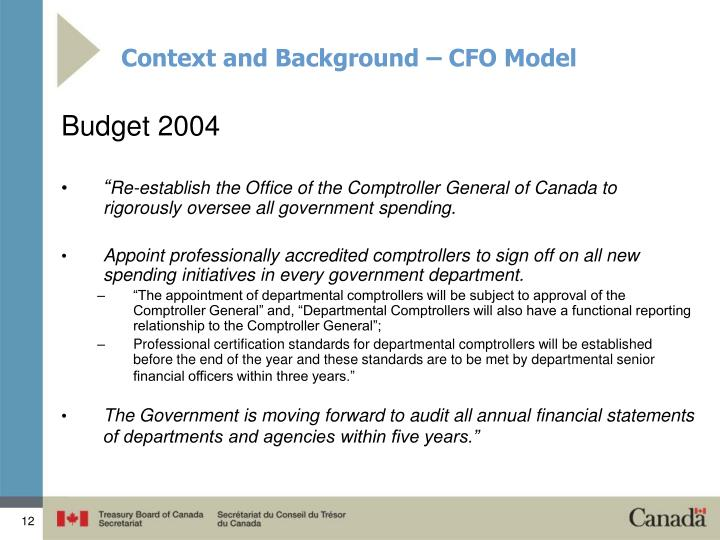 Context and Background – CFO Model