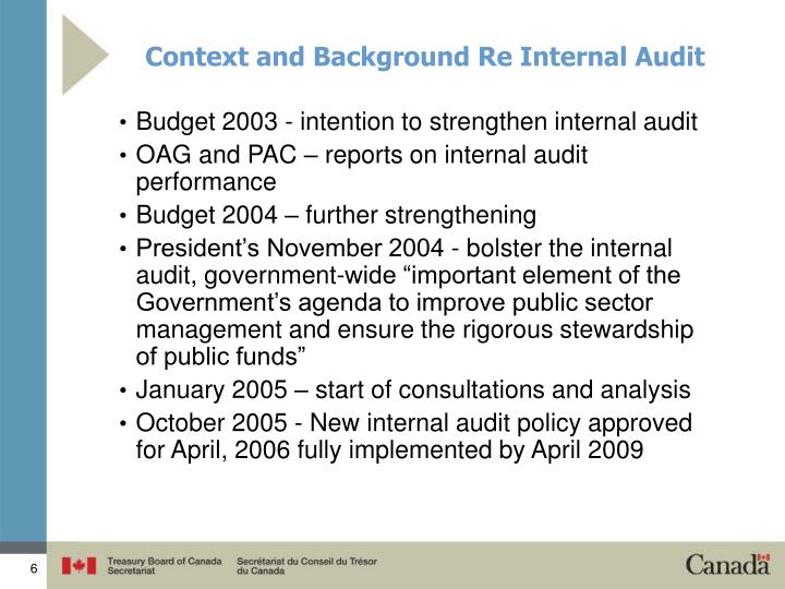 Context and Background Re Internal Audit