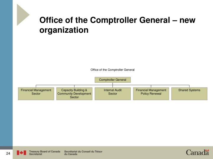 Office of the Comptroller General – new organization