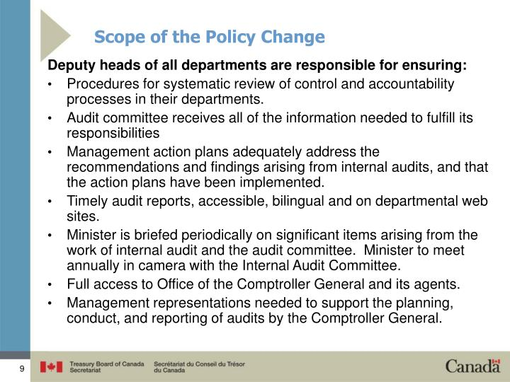 Scope of the Policy Change