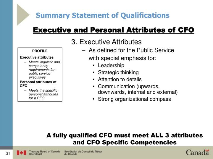 Summary Statement of Qualifications