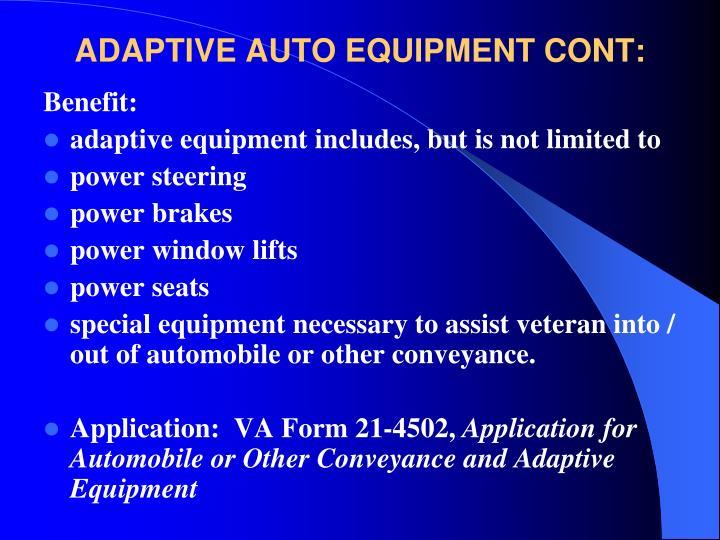 ADAPTIVE AUTO EQUIPMENT CONT: