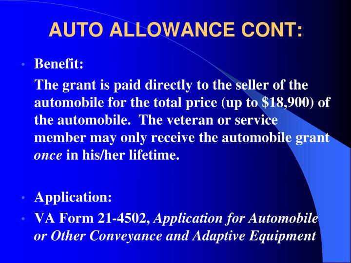 AUTO ALLOWANCE CONT:
