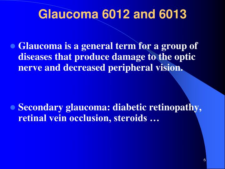 Glaucoma 6012 and 6013