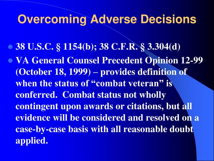 Overcoming Adverse Decisions