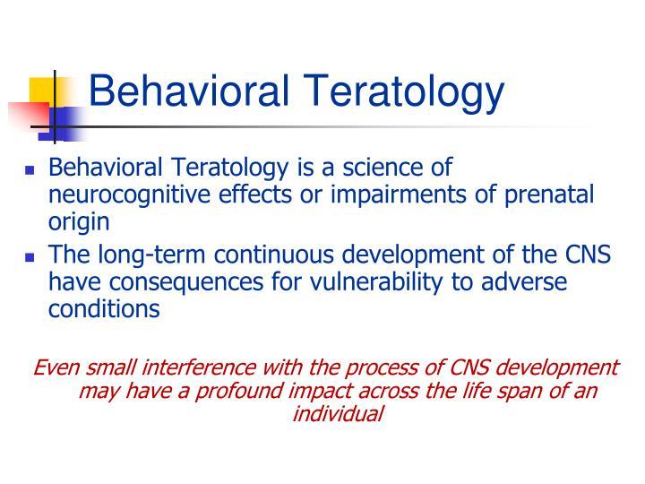 Behavioral Teratology