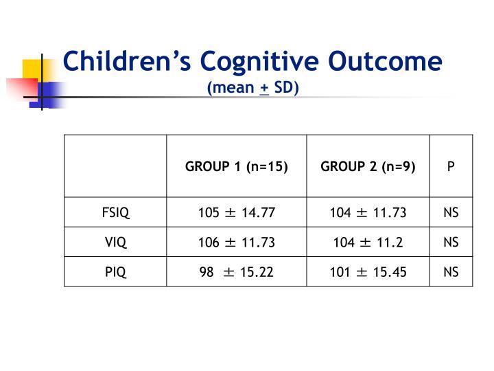 Children's Cognitive Outcome