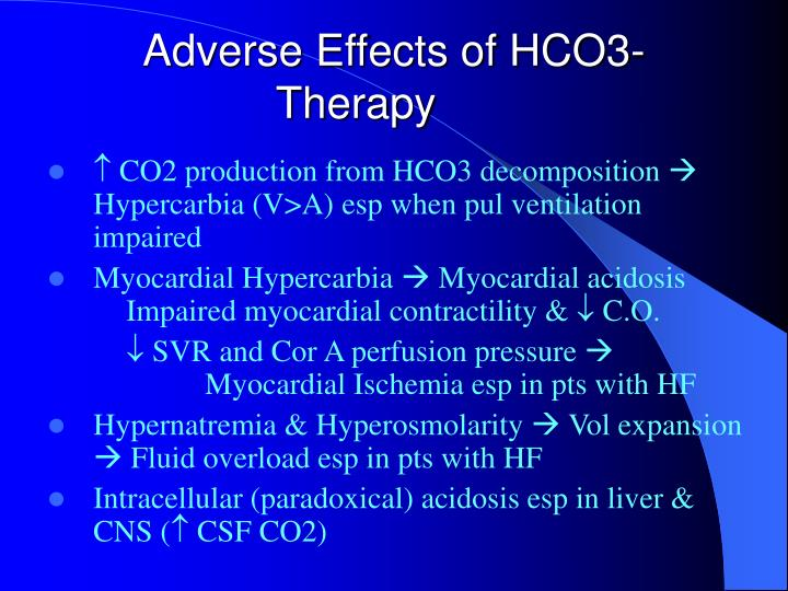 Adverse Effects of HCO3- Therapy