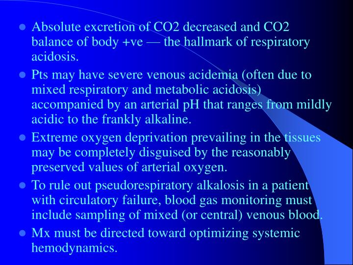 Absolute excretion of CO2 decreased and CO2 balance of body +ve — the hallmark of respiratory acidosis.