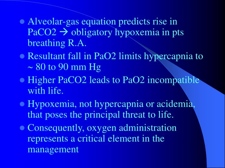 Alveolar-gas equation predicts rise in PaCO2
