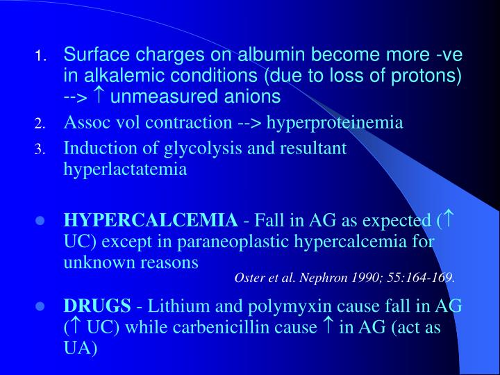 Surface charges on albumin become more -ve in alkalemic conditions (due to loss of protons) -->