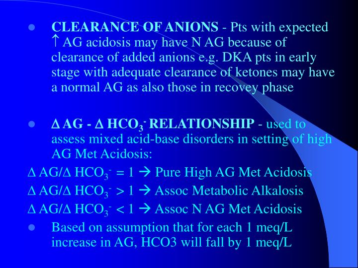 CLEARANCE OF ANIONS