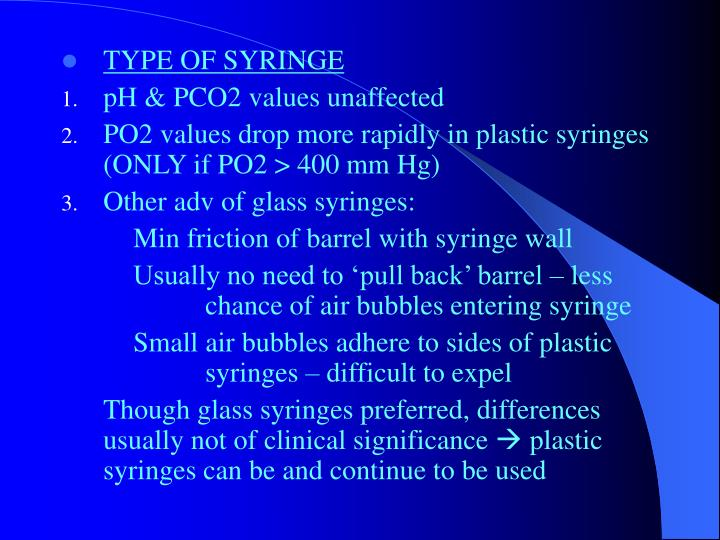 TYPE OF SYRINGE