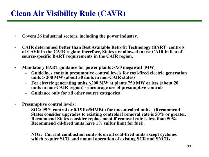 Clean Air Visibility Rule (CAVR)