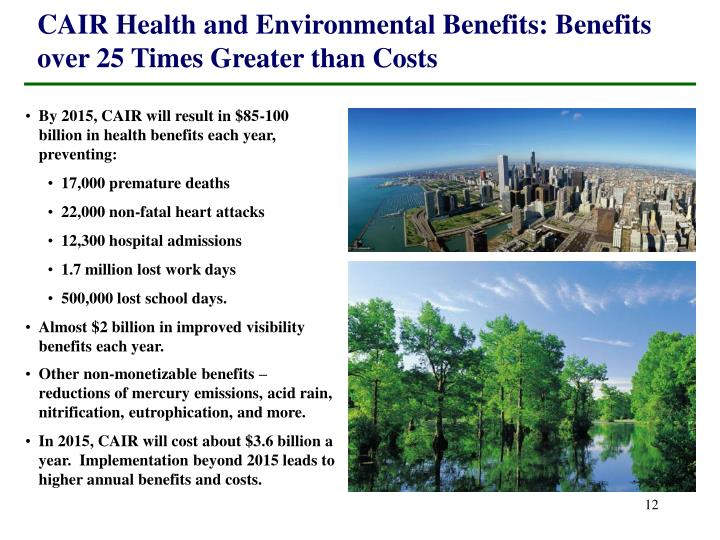 CAIR Health and Environmental Benefits: Benefits over 25 Times Greater than Costs