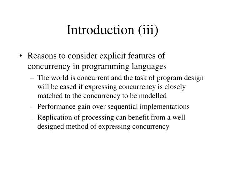 Introduction (iii)