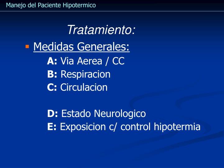 Manejo del Paciente Hipotermico