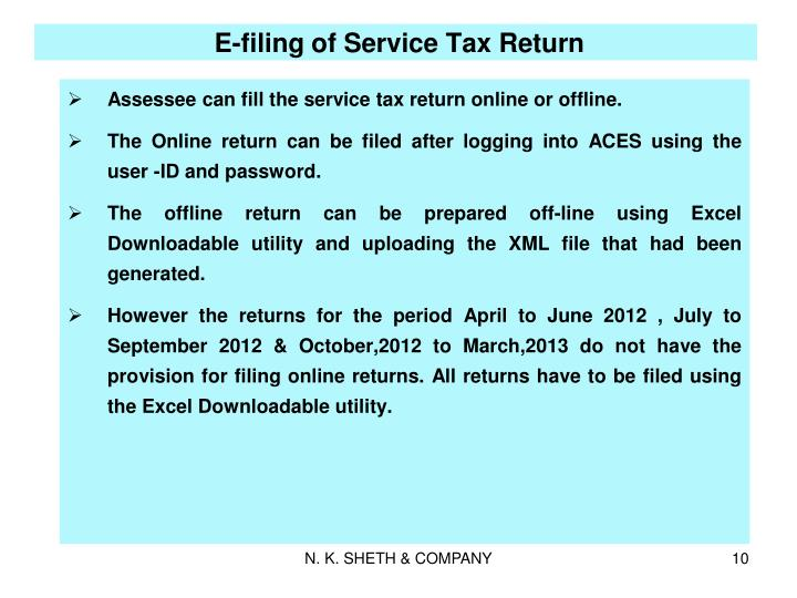 E-filing of Service Tax Return