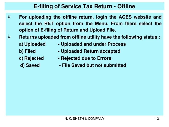 E-filing of Service Tax Return - Offline