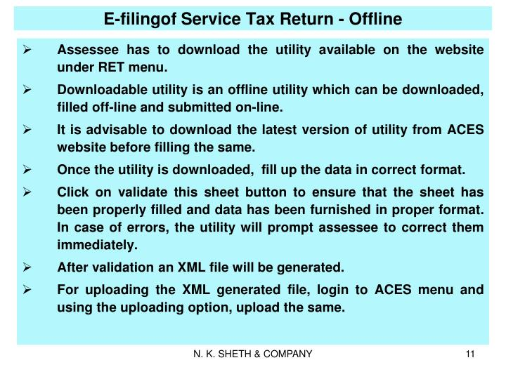 E-filingof Service Tax Return - Offline