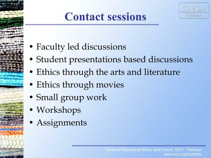 Faculty led discussions