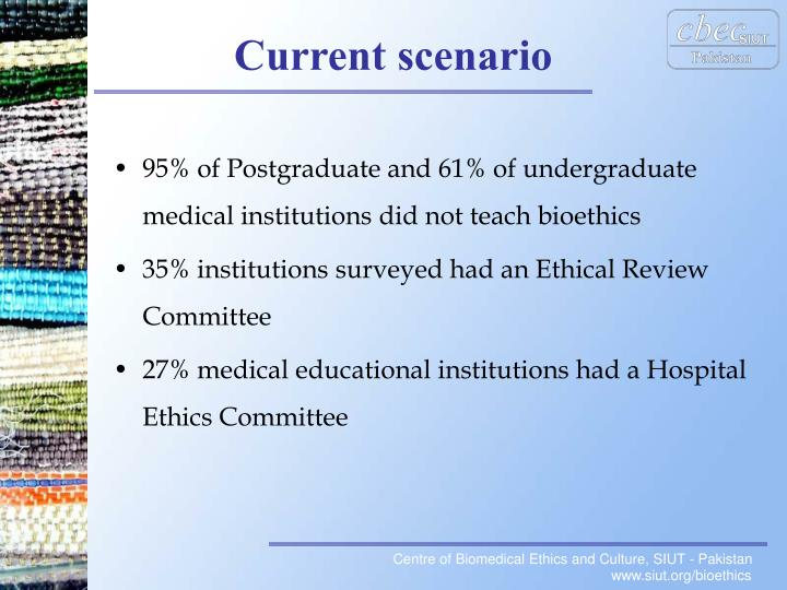 95% of Postgraduate and 61% of undergraduate medical institutions did not teach bioethics