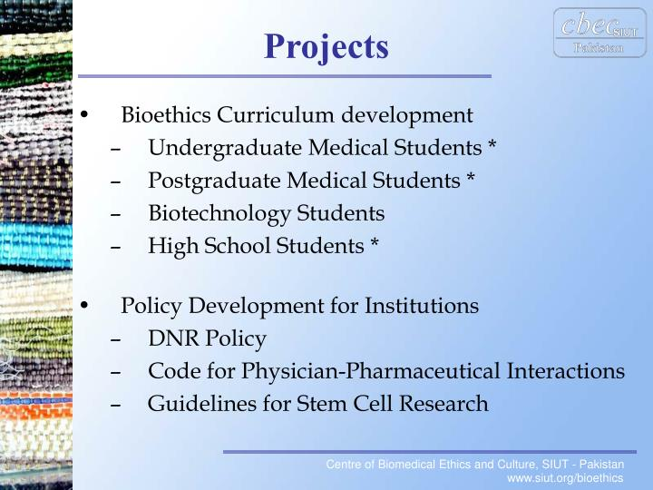 Bioethics Curriculum development