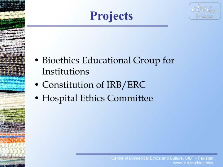 Bioethics Educational Group for Institutions