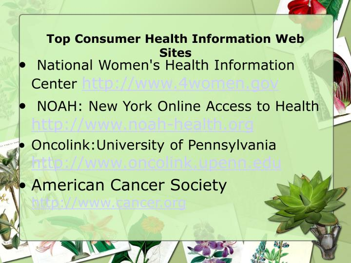 Top Consumer Health Information Web Sites