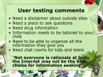 user testing comments