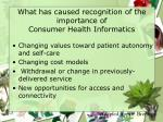 what has caused recognition of the importance of consumer health informatics