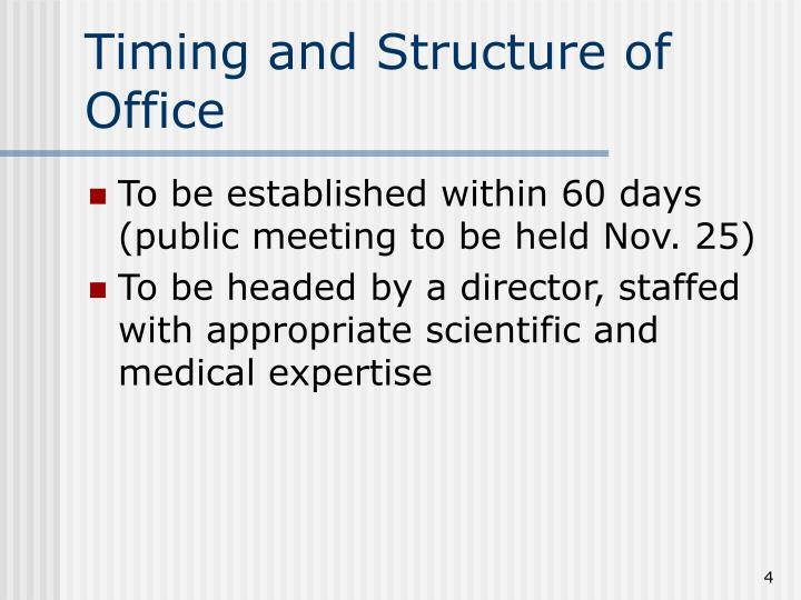 Timing and Structure of Office