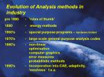 evolution of analysis methods in industry