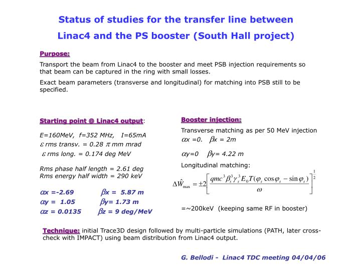 Status of studies for the transfer line between