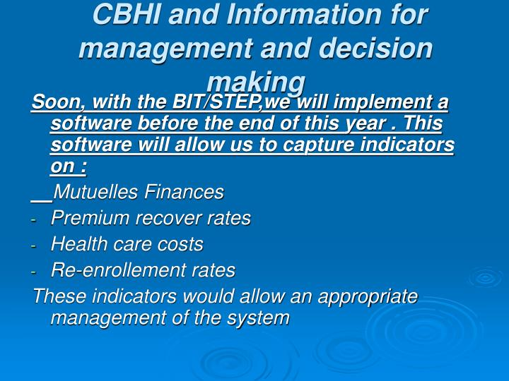 CBHI and Information for management and decision making