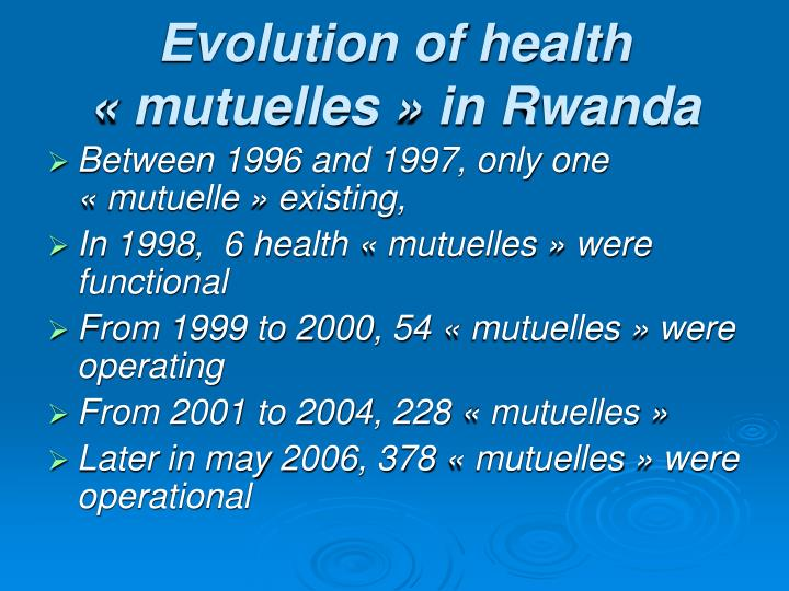 Evolution of health «mutuelles» in Rwanda