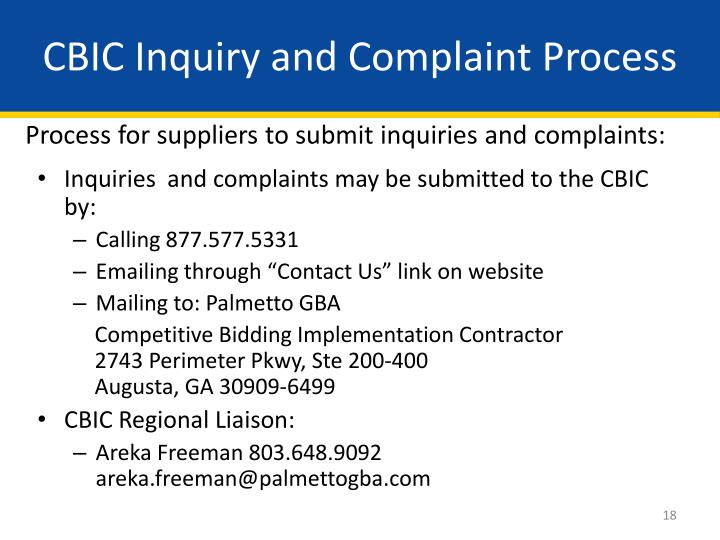 CBIC Inquiry and Complaint Process