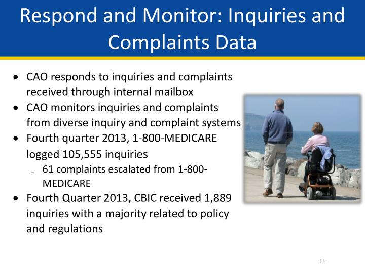 Respond and Monitor: Inquiries and Complaints Data