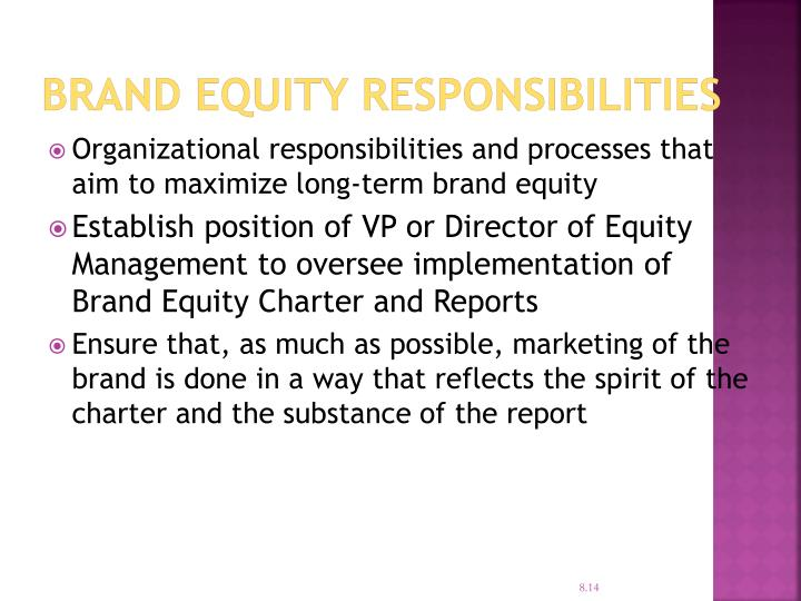 Brand Equity Responsibilities