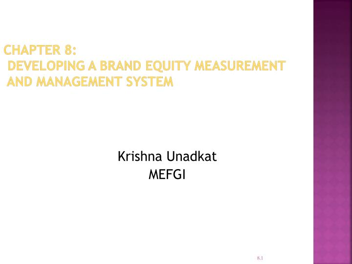 Chapter 8 developing a brand equity measurement and management system