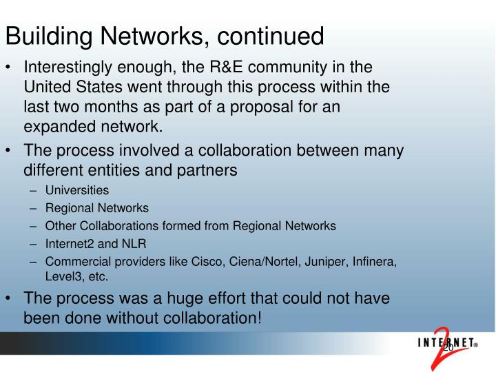 Building Networks, continued