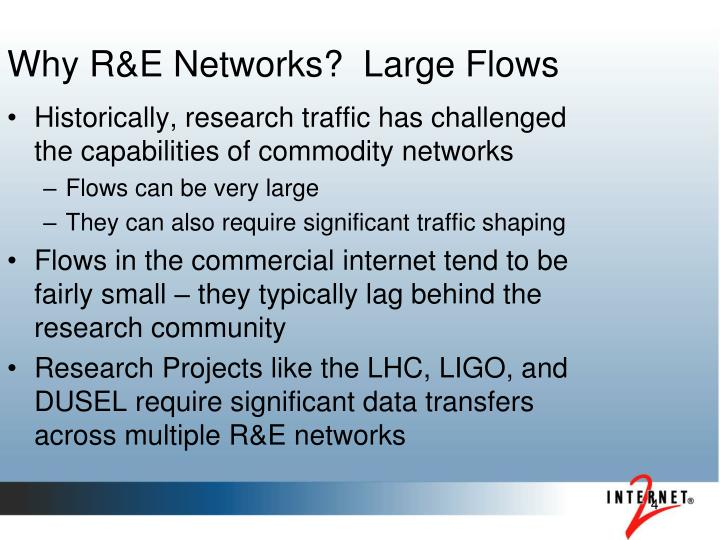 Why R&E Networks?  Large Flows