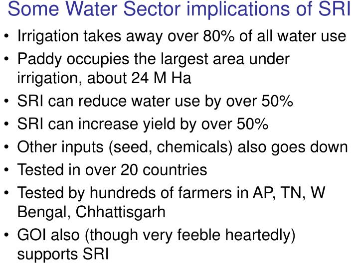 Some Water Sector implications of SRI