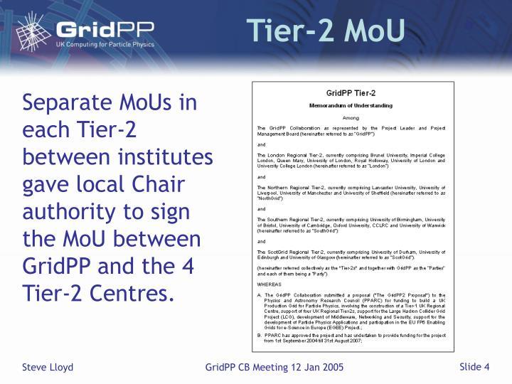 Tier-2 MoU