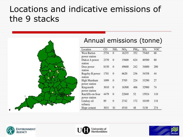 Locations and indicative emissions of the 9 stacks